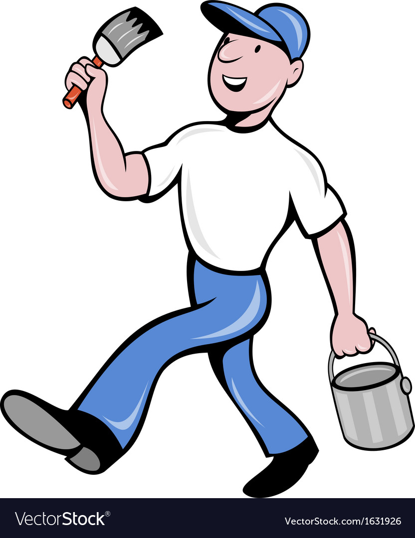 House painter with paintbrush and paint can vector | Price: 1 Credit (USD $1)