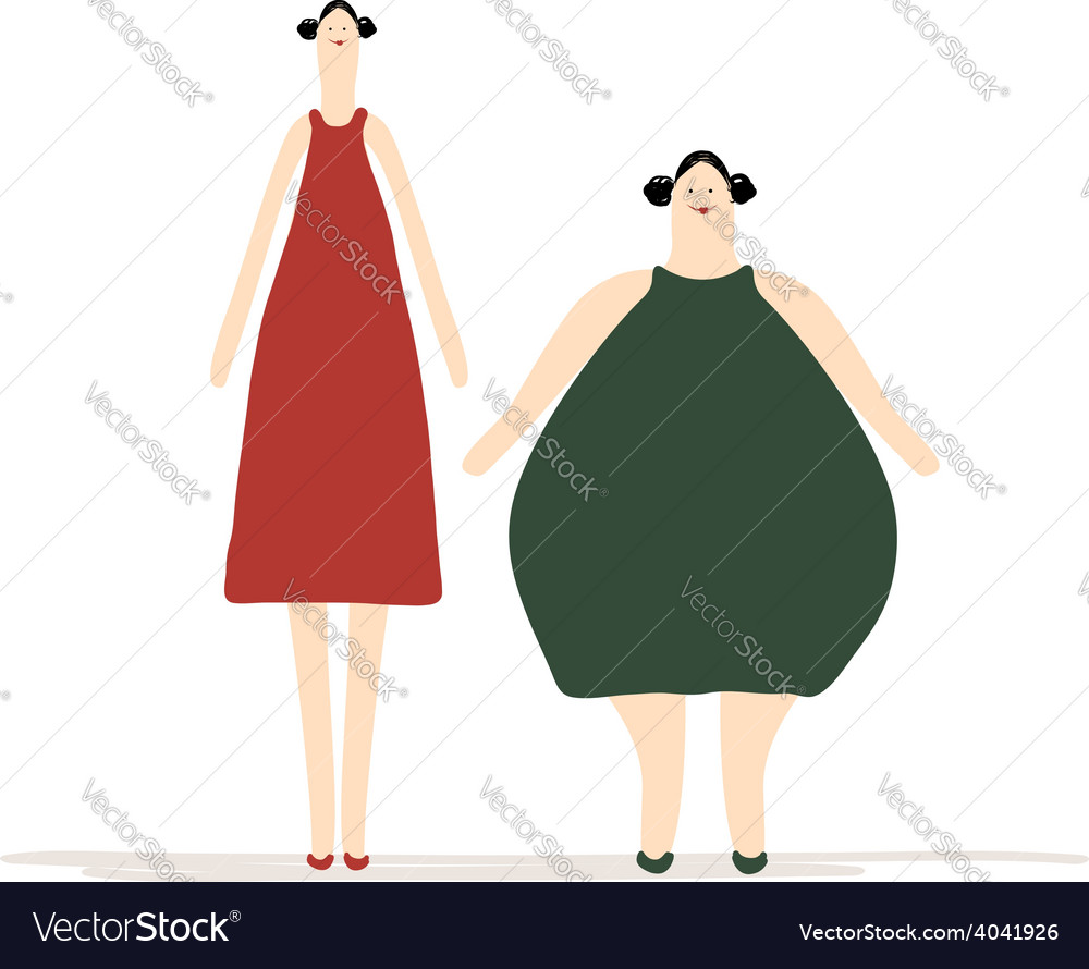 Thick and slim ladies for your design vector | Price: 1 Credit (USD $1)