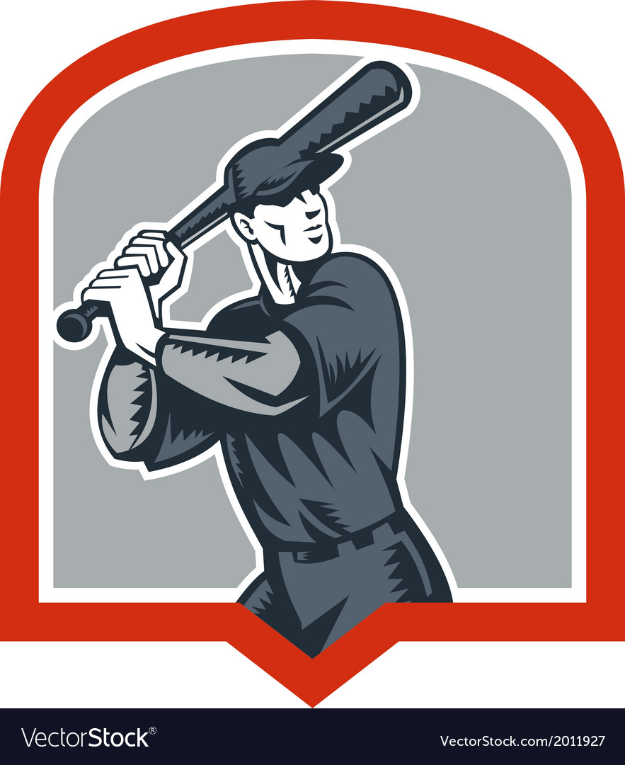 Baseball batter batting woodcut shield vector | Price: 1 Credit (USD $1)