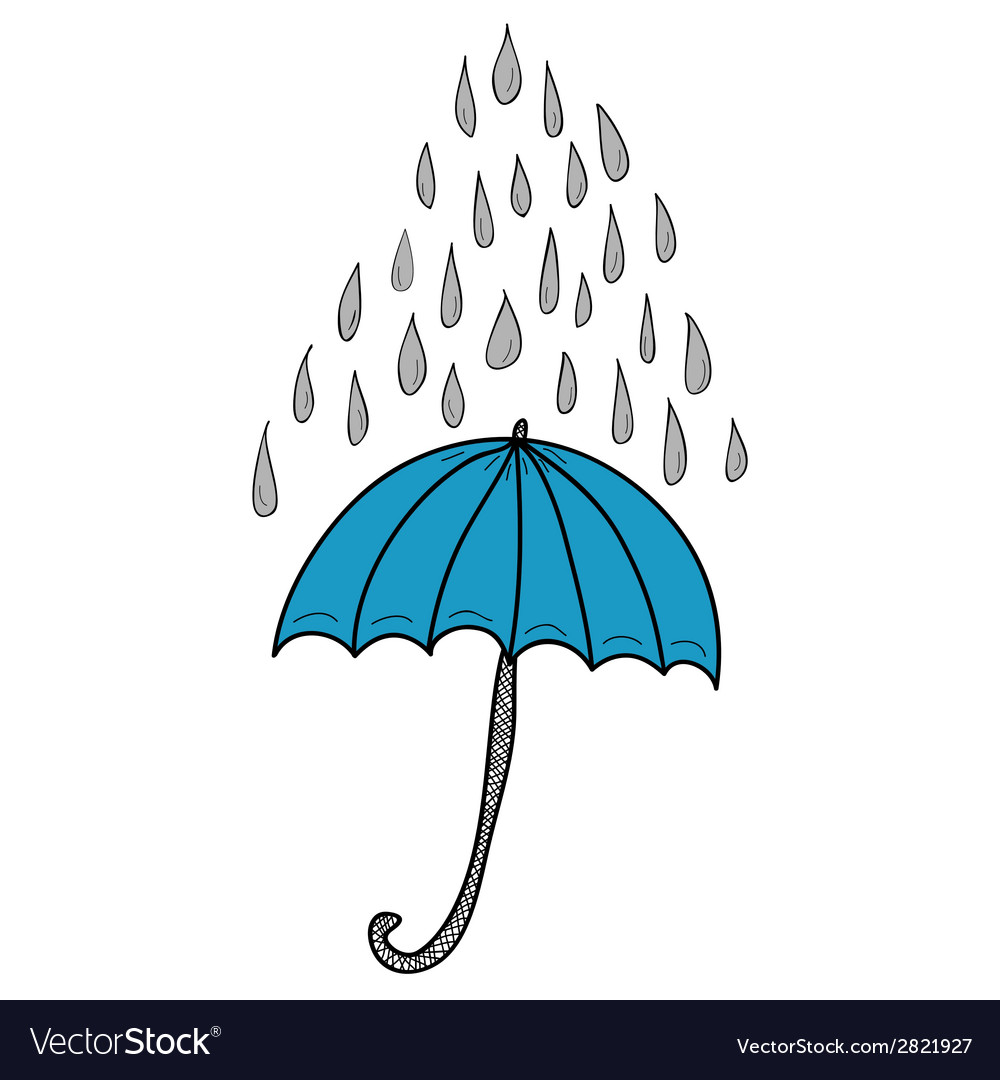 Doodle umbrella and raindrops vector | Price: 1 Credit (USD $1)