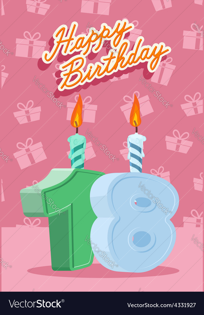 Happy birthday age 18 announcement and celebration vector | Price: 1 Credit (USD $1)