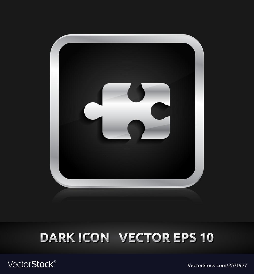 Puzzle icon silver metal vector | Price: 1 Credit (USD $1)