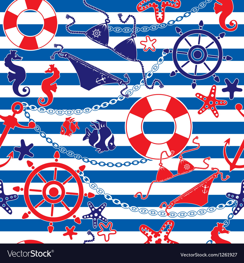 Seamless nautical pattern on striped background vector | Price: 1 Credit (USD $1)