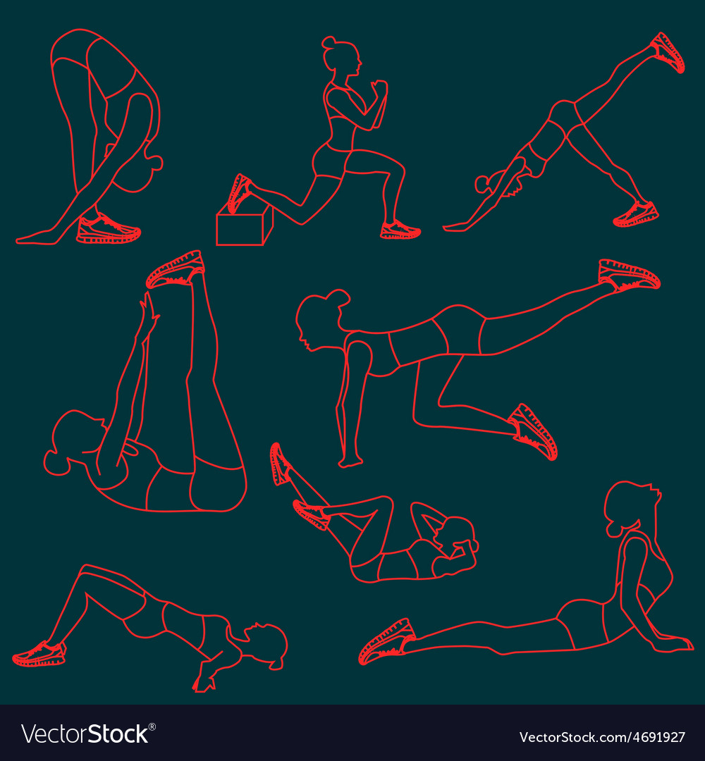 Set of exercises poses for women vector | Price: 1 Credit (USD $1)