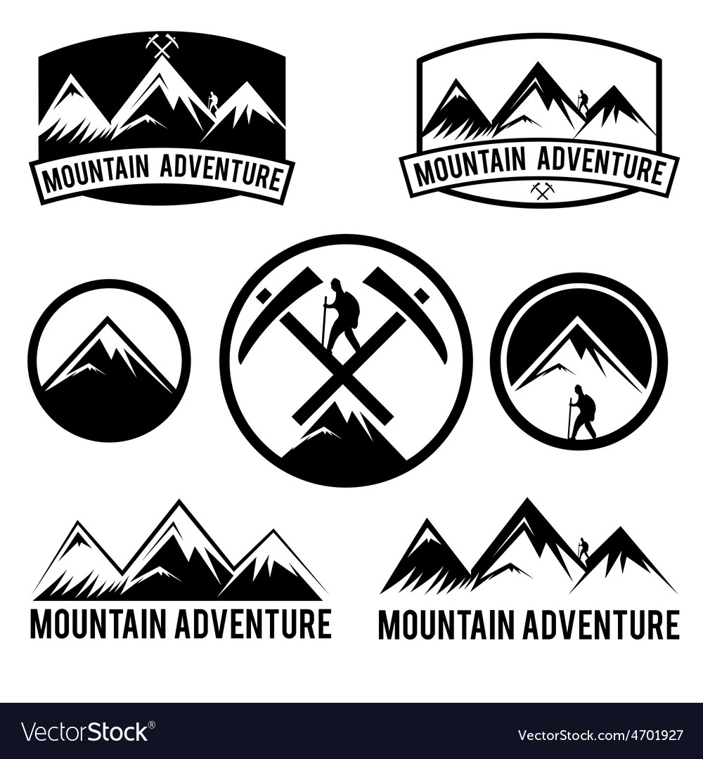 Set of vintage labels mountain adventure vector | Price: 1 Credit (USD $1)