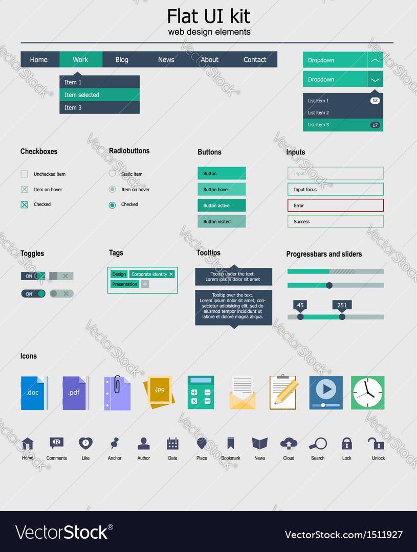 Ui kit is a of beautiful components featuring the vector | Price: 1 Credit (USD $1)