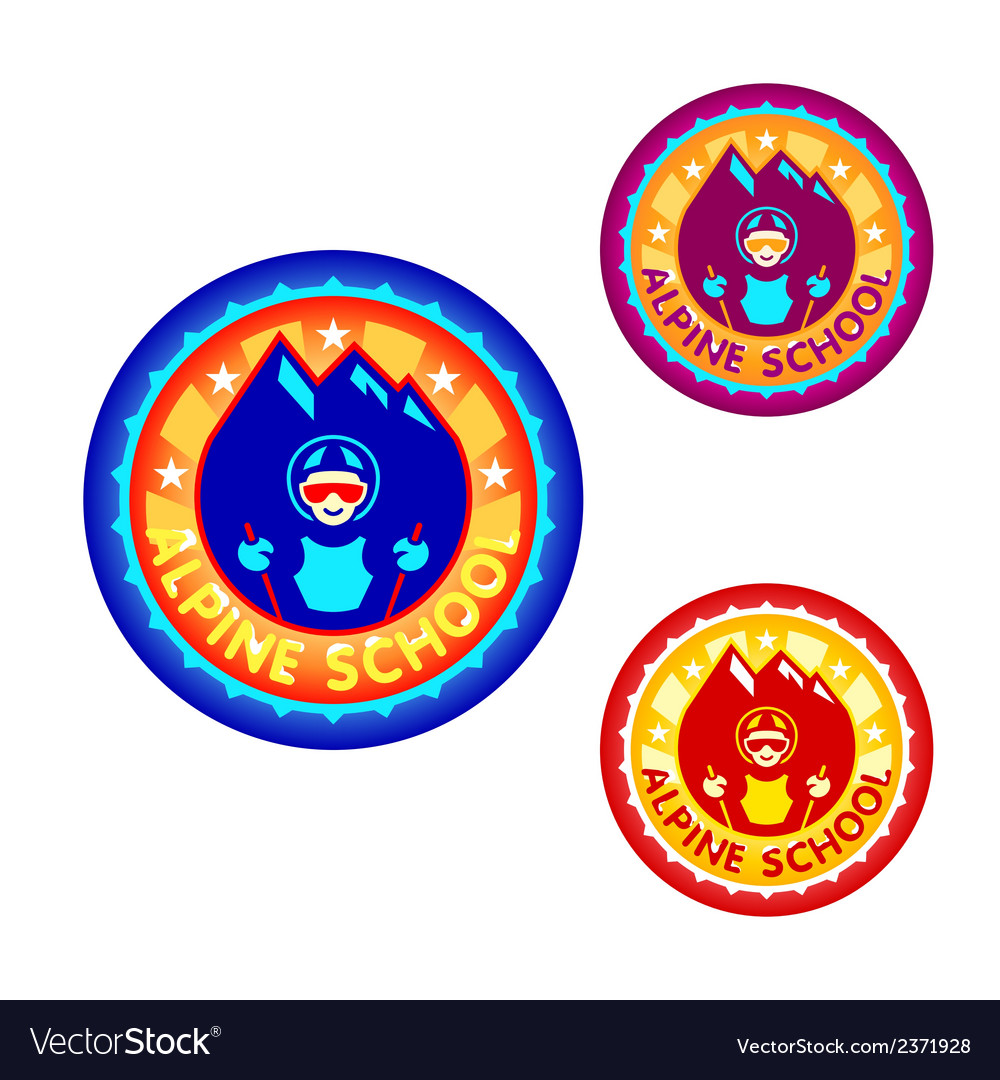 Alpine skiing school symbol vector | Price: 1 Credit (USD $1)