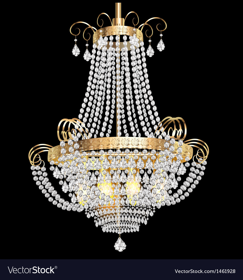 Chandelier with crystal pendants vector | Price: 1 Credit (USD $1)