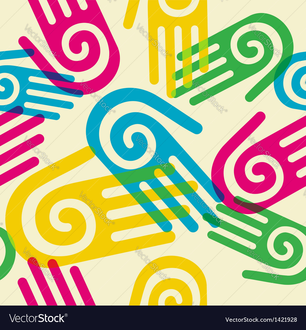 Colorful pattern hands with spiral symbol vector | Price: 1 Credit (USD $1)