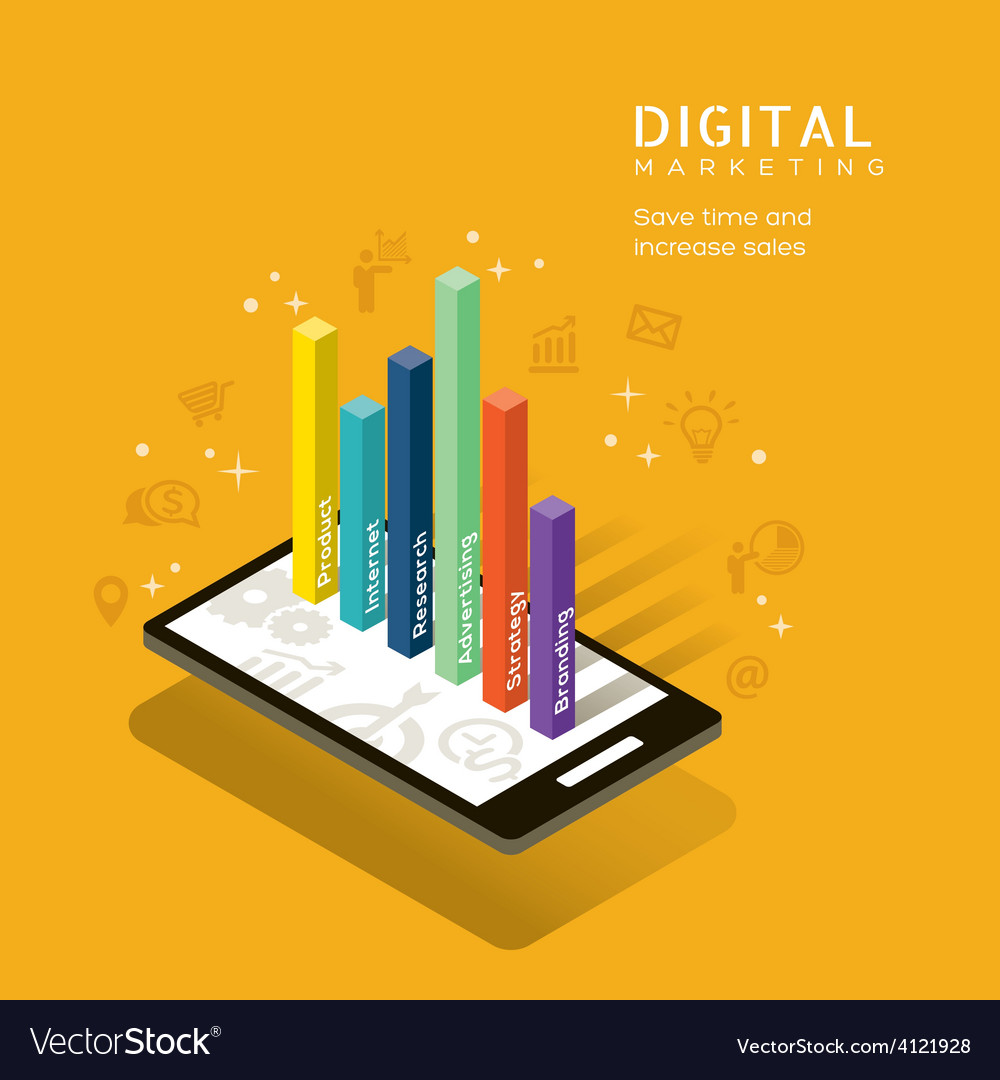 Digital marketing media graph on smartphone vector | Price: 1 Credit (USD $1)