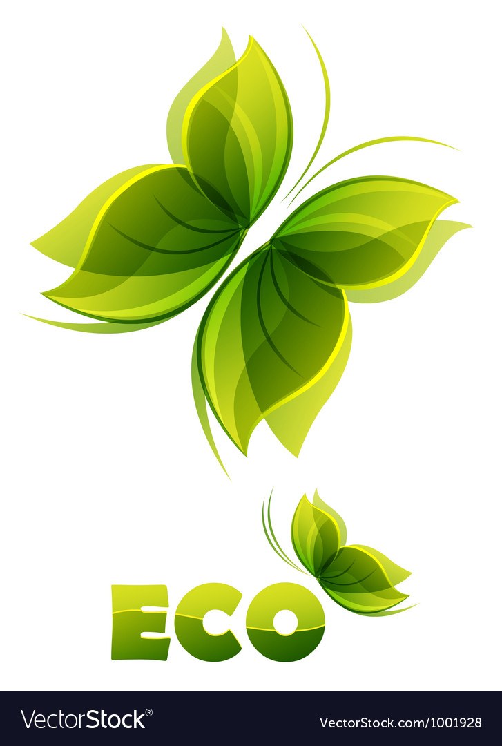 Eco logo - two green butterflies vector | Price: 1 Credit (USD $1)