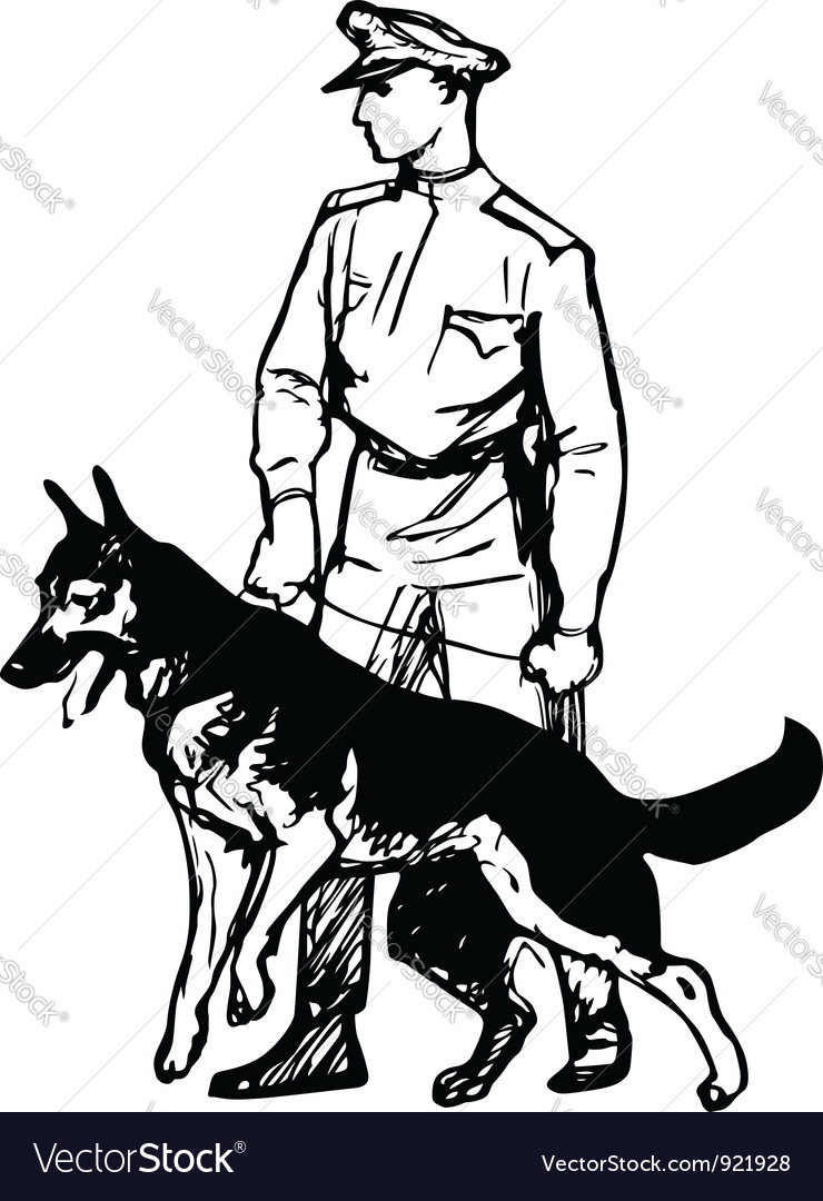 Frontier guard with dog vector | Price: 1 Credit (USD $1)