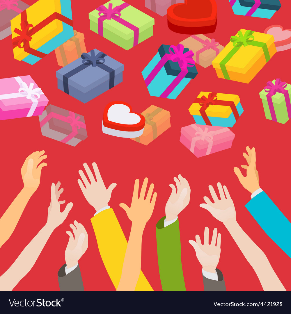 Hands catching the falling gift boxes vector | Price: 1 Credit (USD $1)