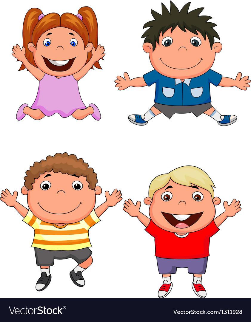 Happy kids cartoon set vector | Price: 3 Credit (USD $3)