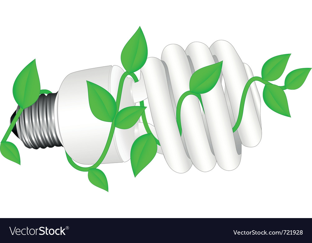Low-energy bulb with leafs vector | Price: 1 Credit (USD $1)