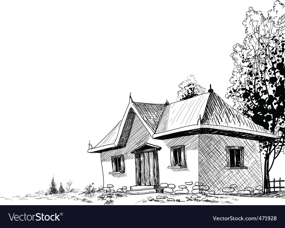Old house sketch vector | Price: 1 Credit (USD $1)