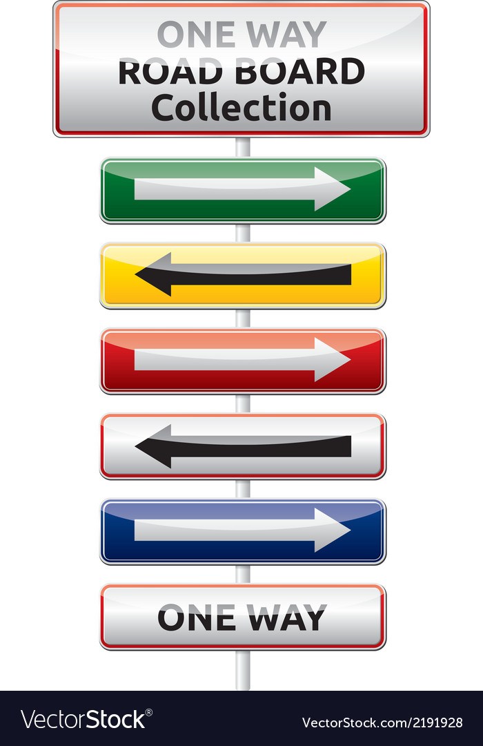 One way traffic board collection vector | Price: 1 Credit (USD $1)