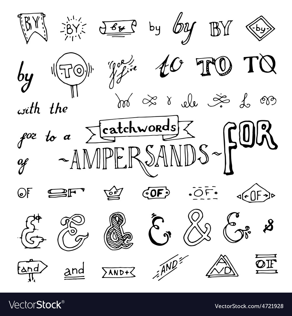 Set of chalkboard style ampersands vector | Price: 1 Credit (USD $1)