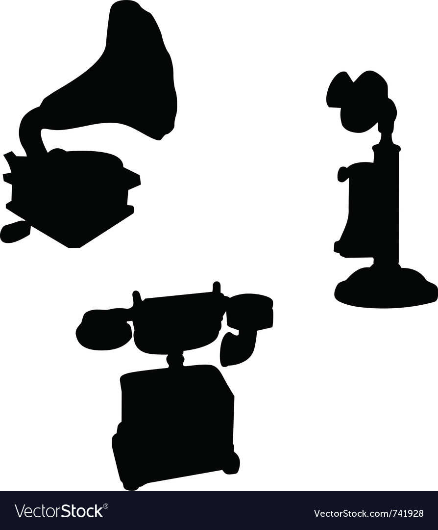 Victorian telephone phonograph silhouettes vector | Price: 1 Credit (USD $1)