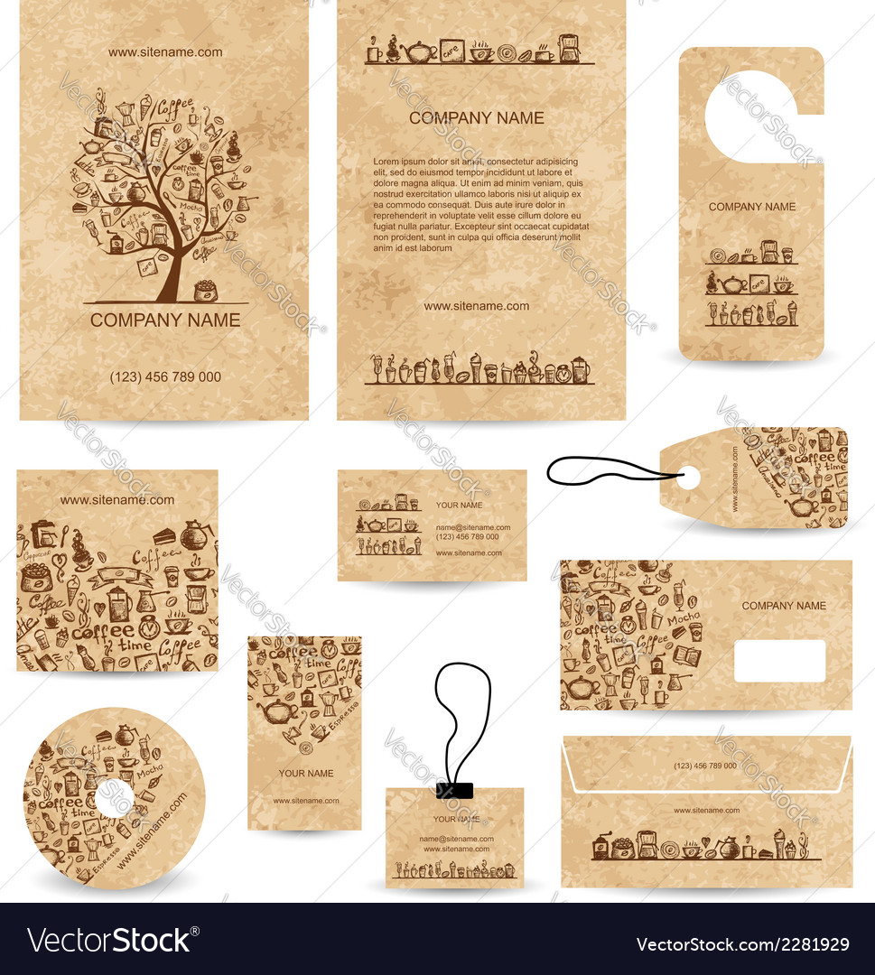 Business cards collection with coffee concept vector | Price: 1 Credit (USD $1)