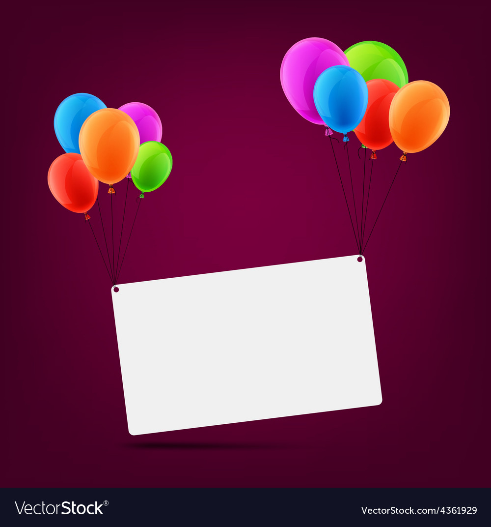 Celebrate card background with balloons vector   Price: 1 Credit (USD $1)