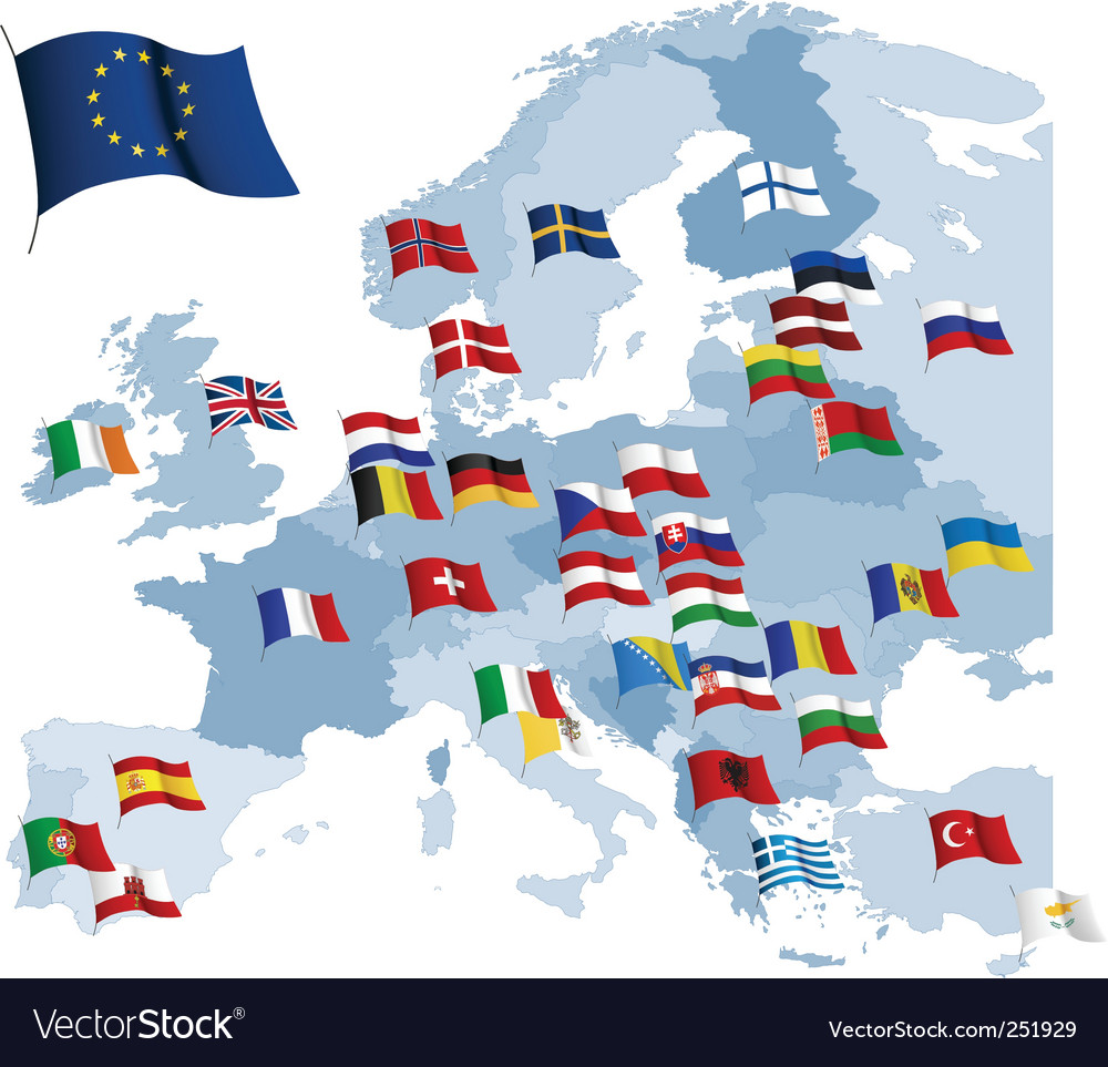 European country flags and map vector | Price: 1 Credit (USD $1)