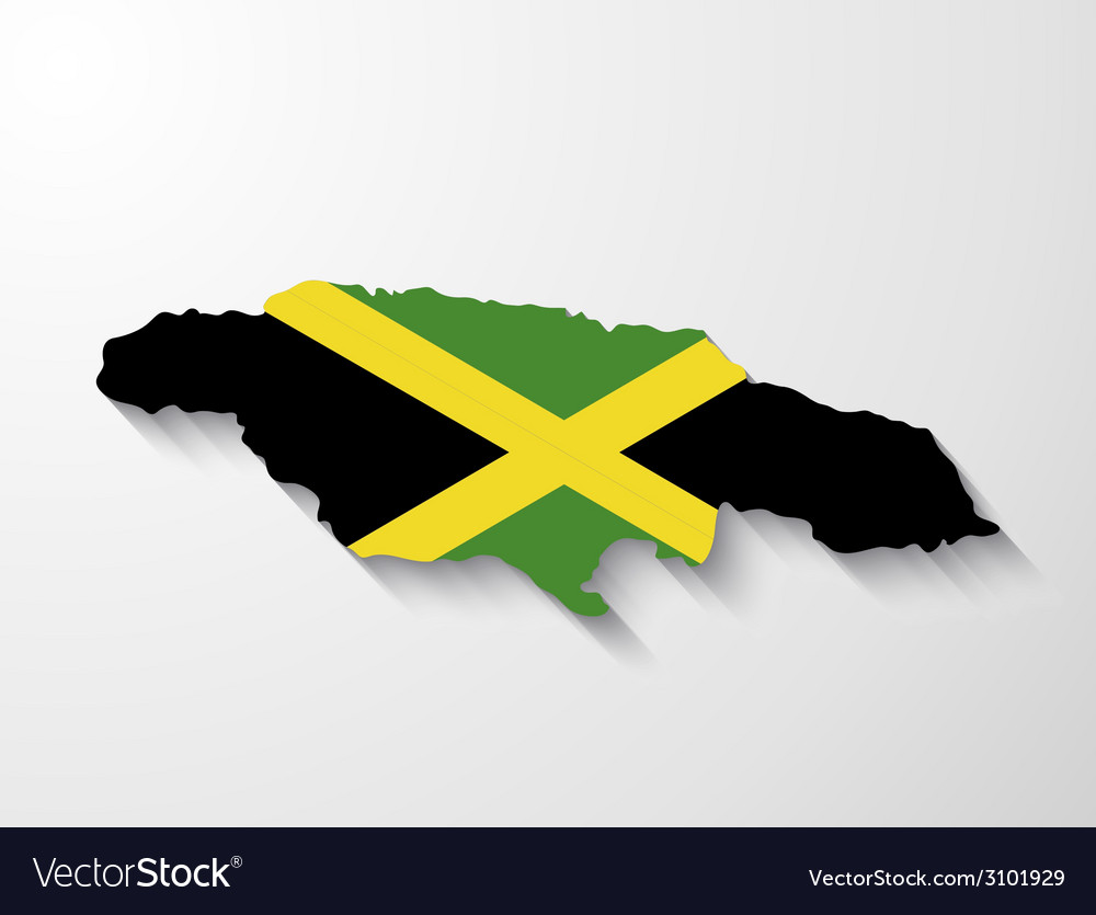 Jamaica country map with shadow effect vector | Price: 1 Credit (USD $1)