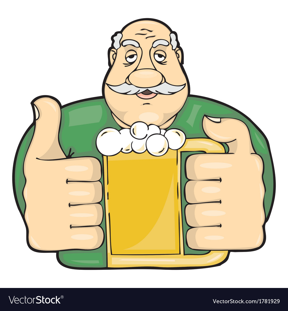 Mustachioed man with a glass of beer vector | Price: 1 Credit (USD $1)