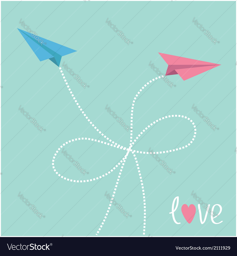 Origami paper plane in the sky with dash line bow vector | Price: 1 Credit (USD $1)