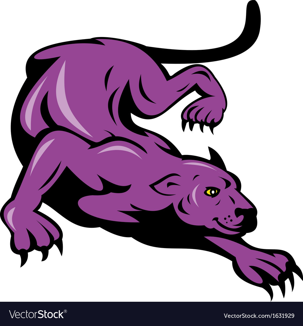 Panther prowling isolated on white vector | Price: 1 Credit (USD $1)