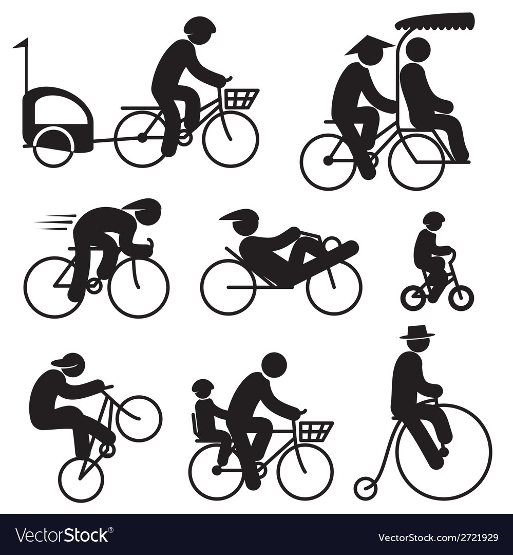 People cyclist icons vector | Price: 1 Credit (USD $1)