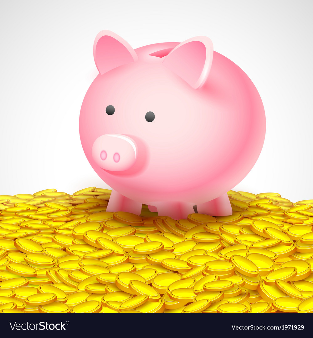 Piggy bank on heap of gold coin vector | Price: 1 Credit (USD $1)