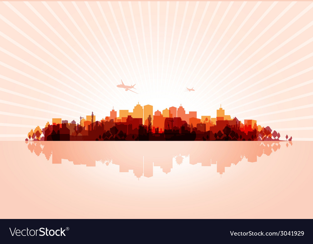 Red cityscape vector | Price: 1 Credit (USD $1)
