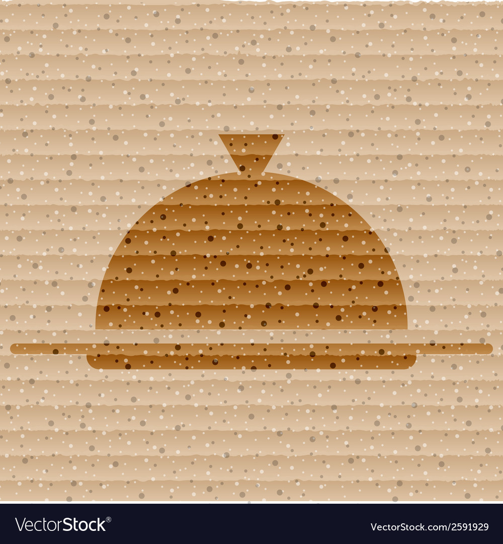 Restaurant cloche flat modern web button and space vector | Price: 1 Credit (USD $1)