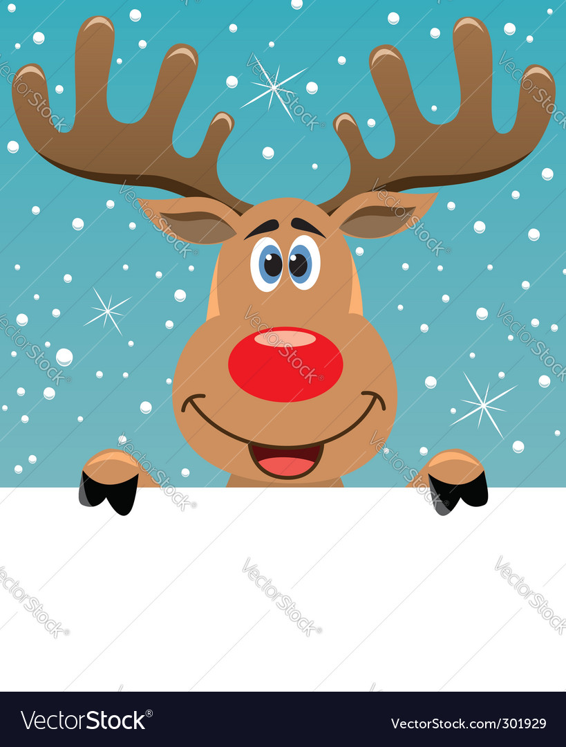 Rudolph deer with blank paper vector | Price: 1 Credit (USD $1)