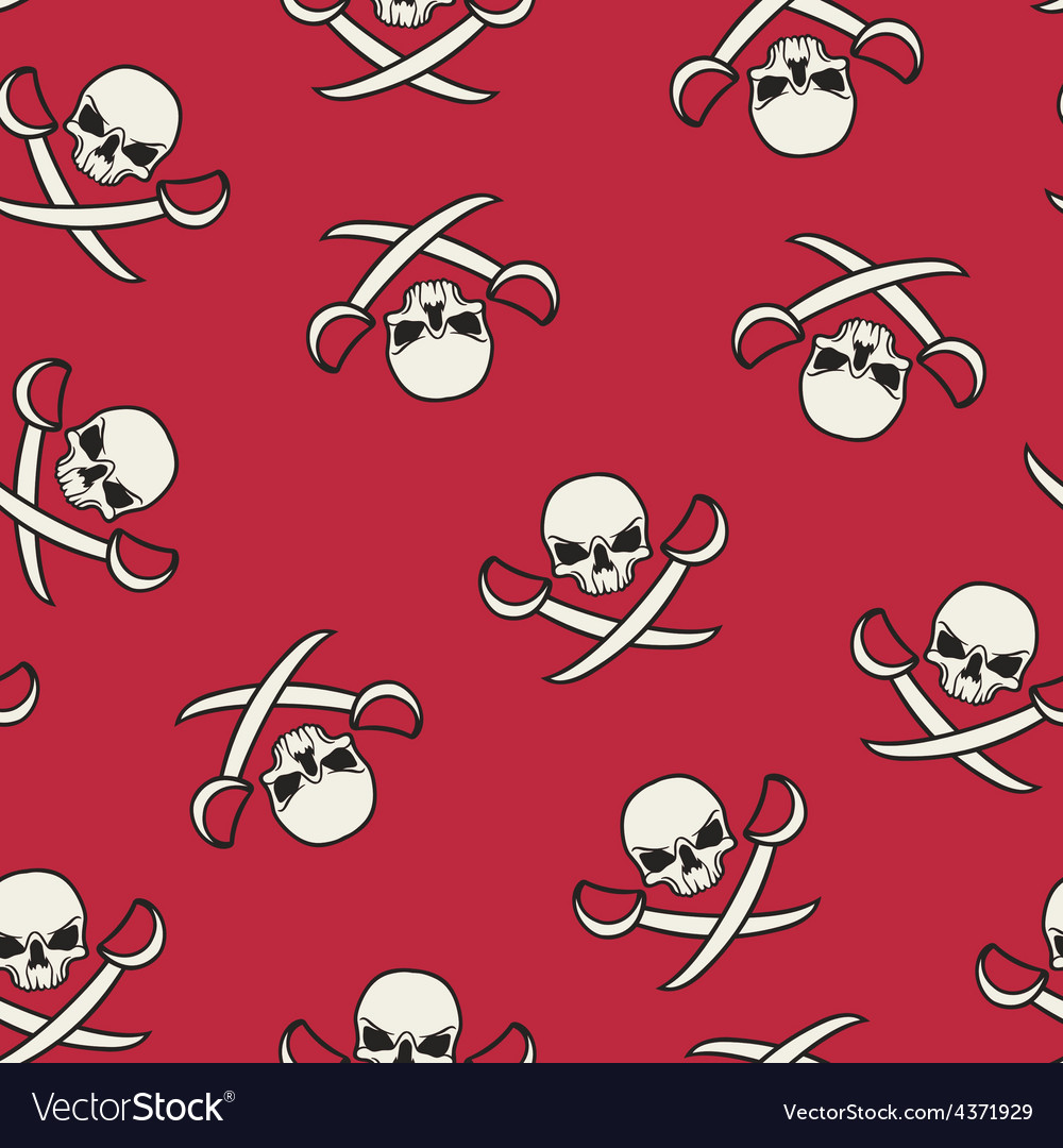 Seamless texture with skulls and pirate swords vector | Price: 1 Credit (USD $1)