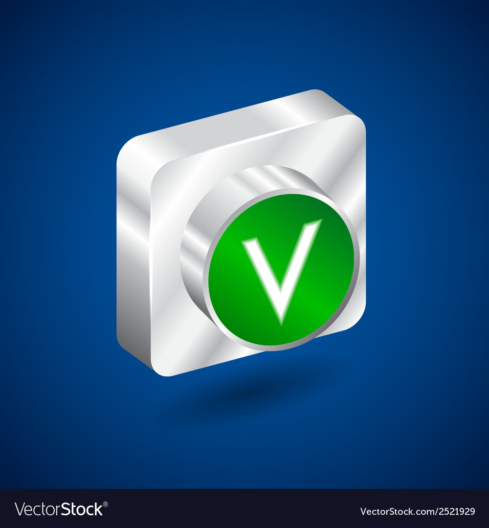 Validation accepted metall green button vector | Price: 1 Credit (USD $1)