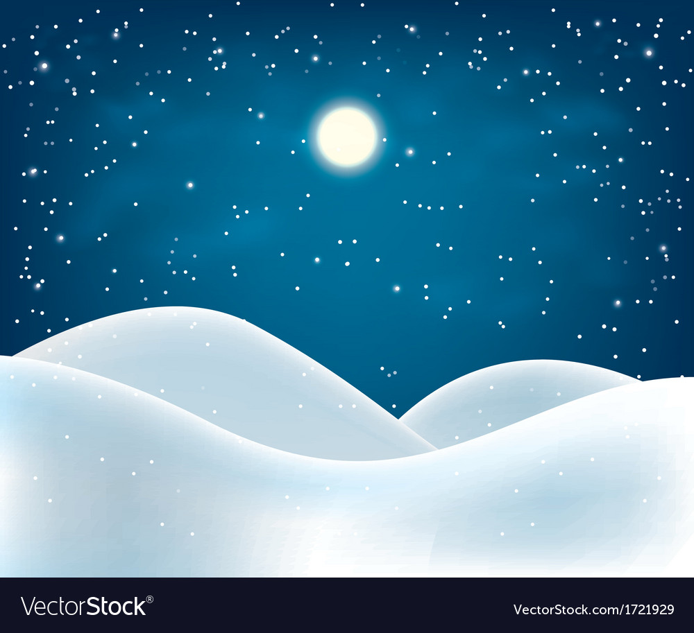 Winter night landscape vector | Price: 1 Credit (USD $1)