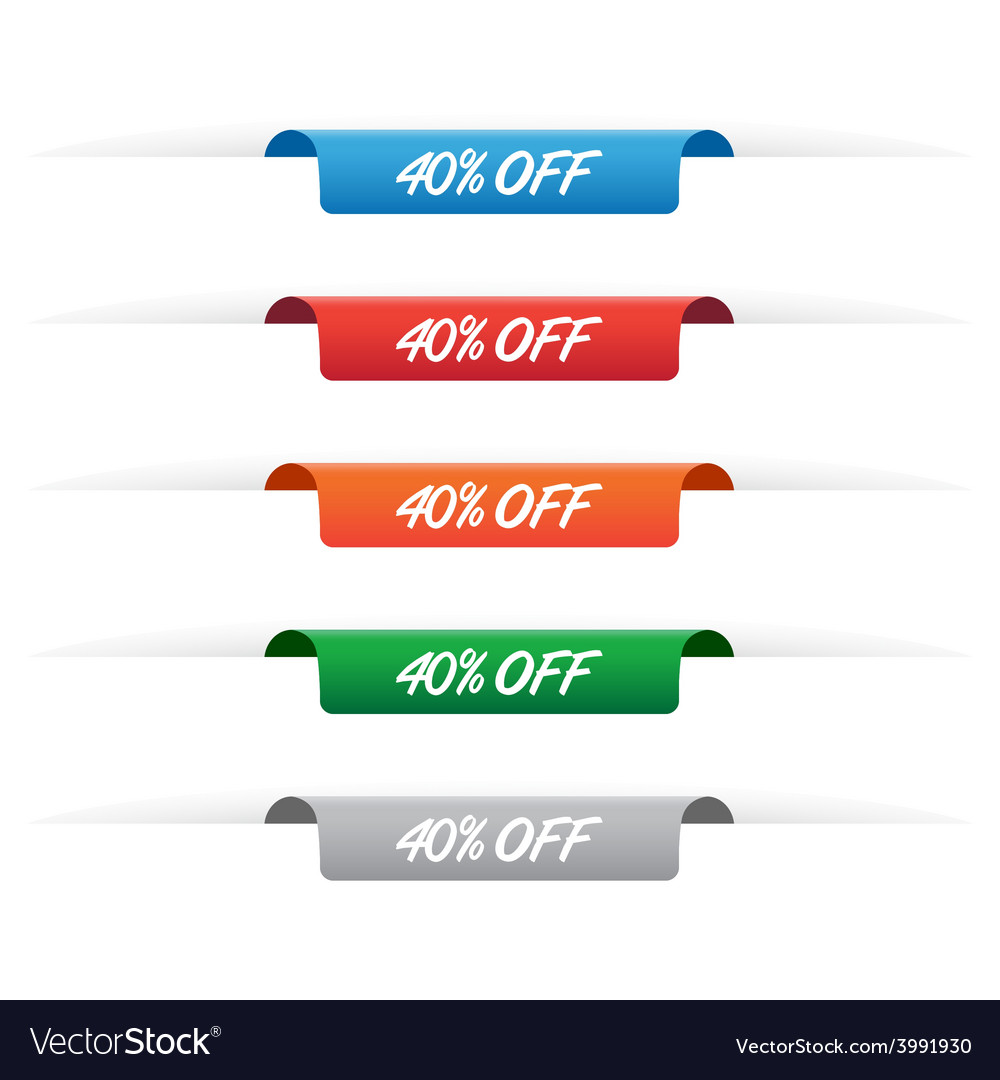 40 percent off paper tag label vector | Price: 1 Credit (USD $1)