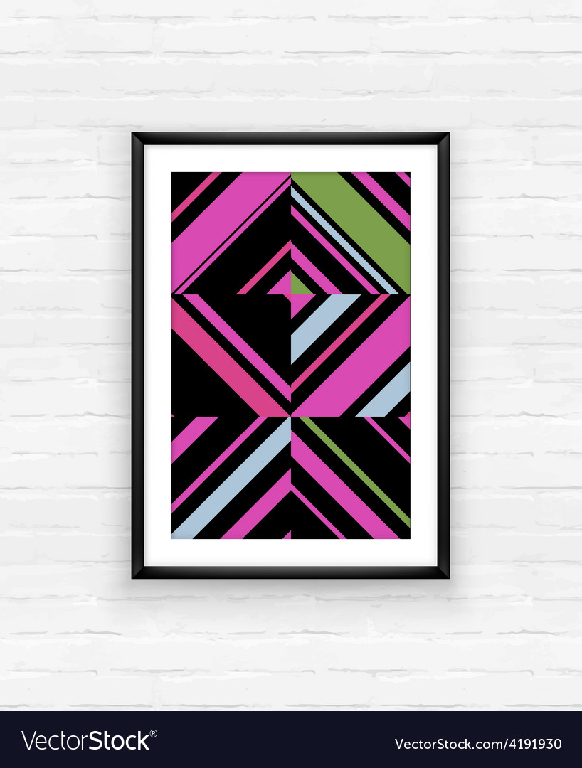 Abstract geometric poster frame on brick wall vector | Price: 1 Credit (USD $1)