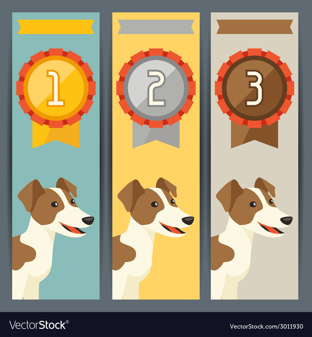 Award vertical banners with dog winning medal vector | Price: 1 Credit (USD $1)