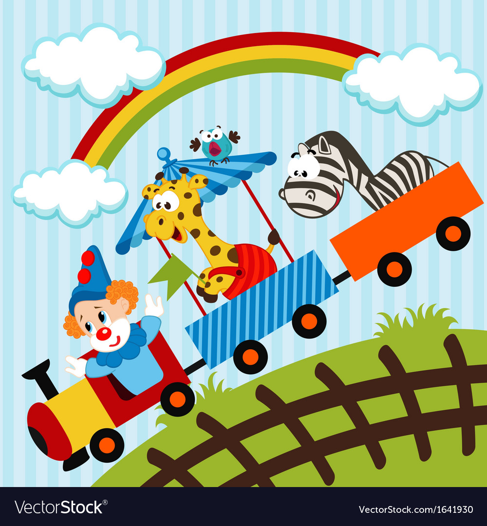 Clown and animals traveling train vector | Price: 3 Credit (USD $3)