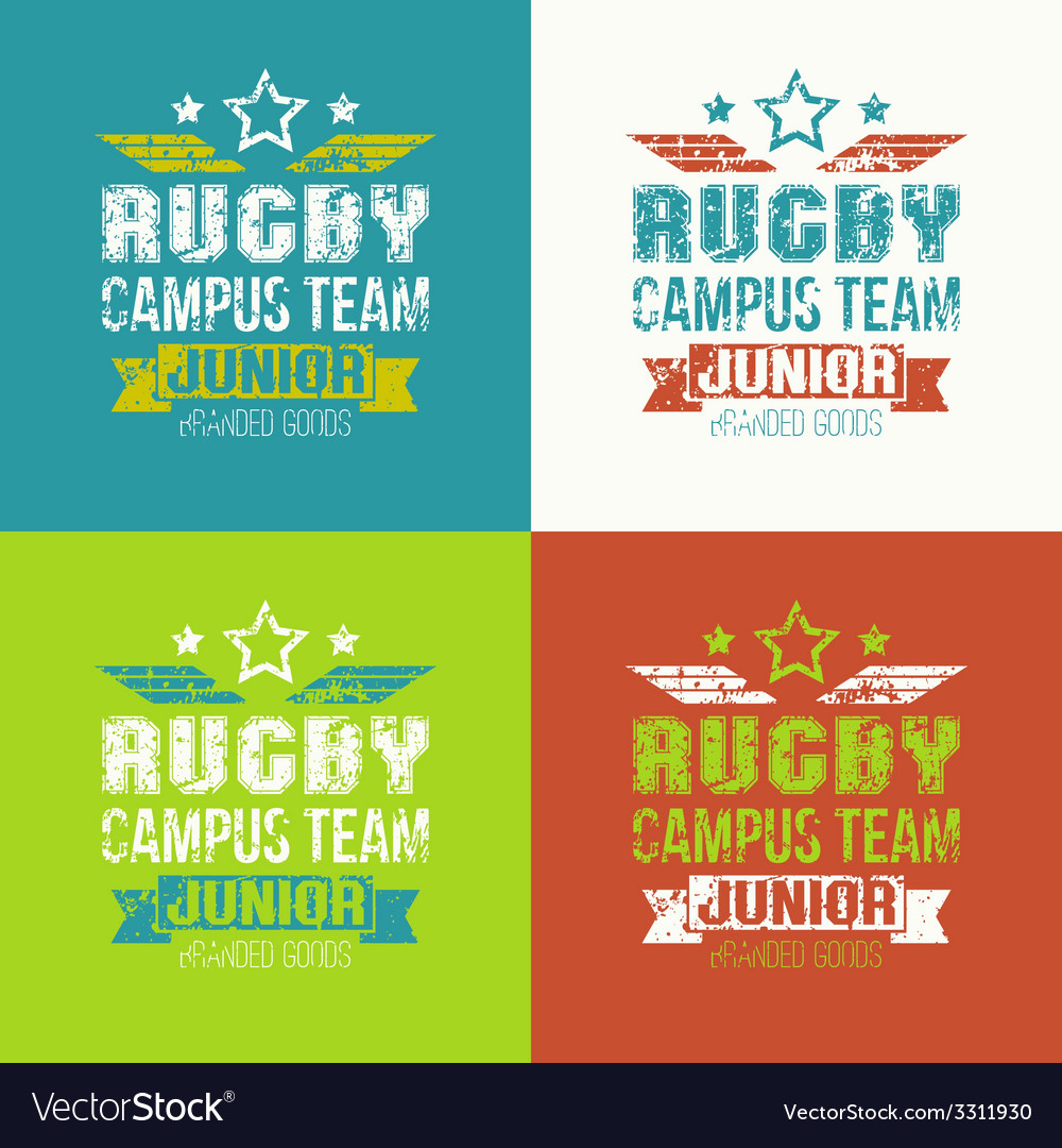 College rugby junior team emblem vector | Price: 1 Credit (USD $1)