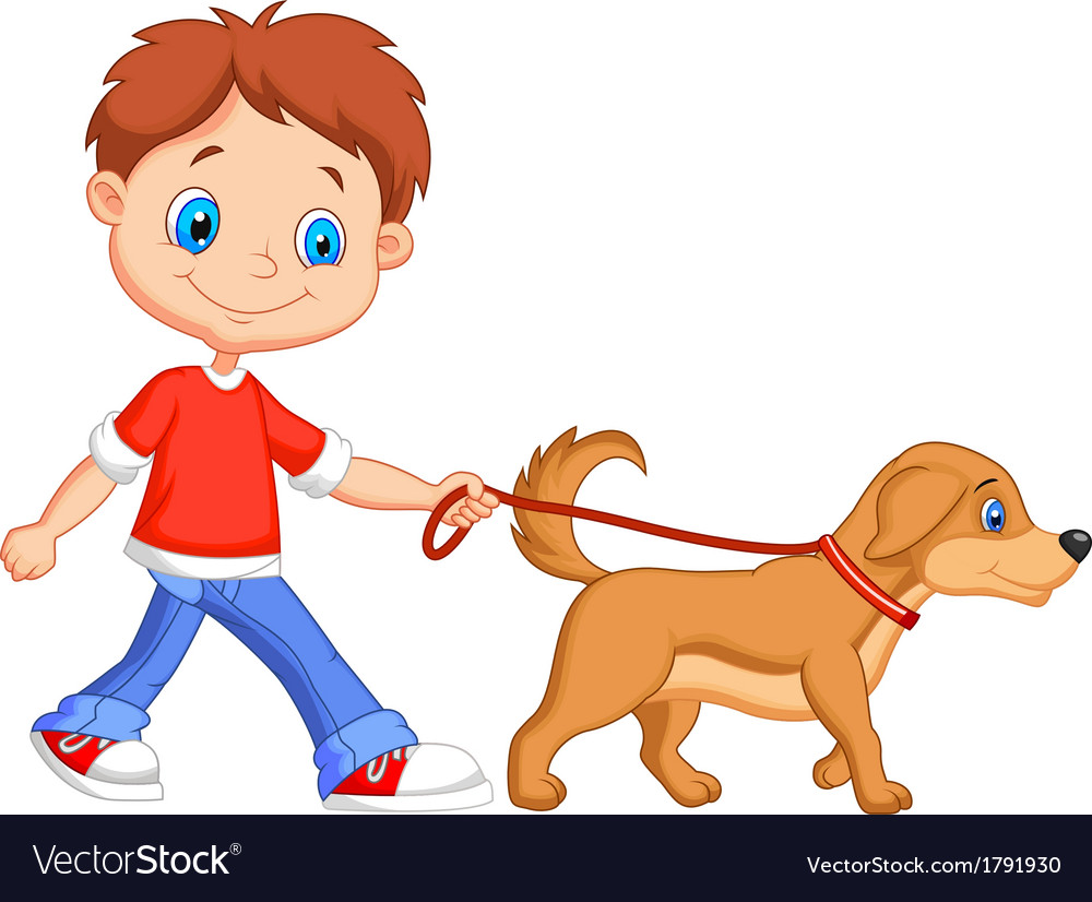 Cute cartoon boy walking with dog vector | Price: 1 Credit (USD $1)