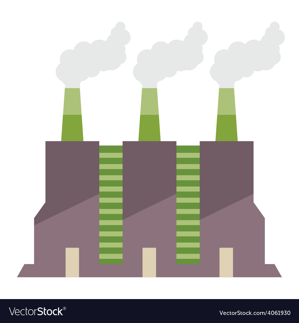 Factory building with smoke stacks vector | Price: 1 Credit (USD $1)