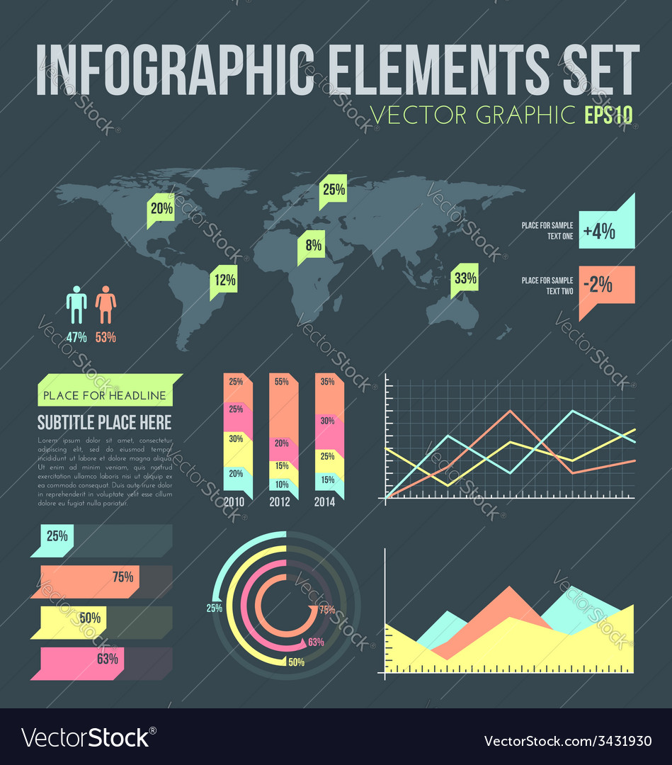 Flat style infographic elements set with diagrams vector | Price: 1 Credit (USD $1)