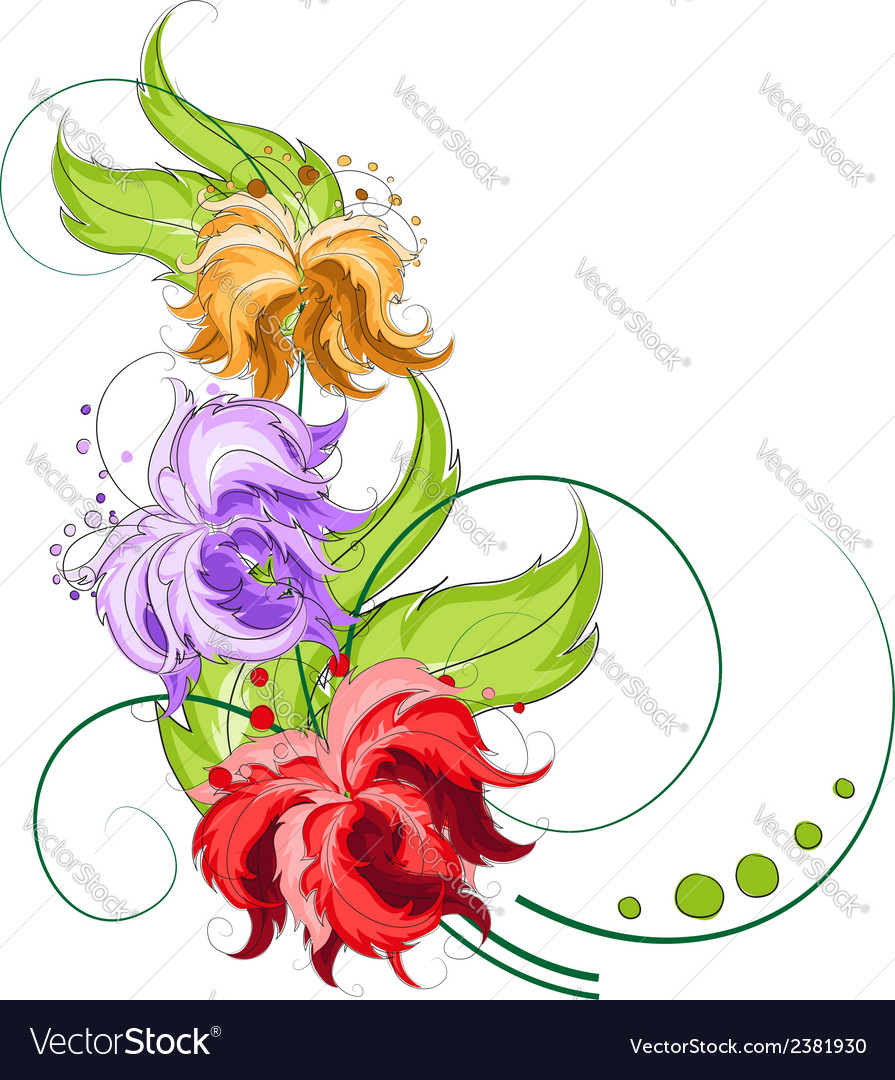 Hand drawn flowers vector | Price: 1 Credit (USD $1)