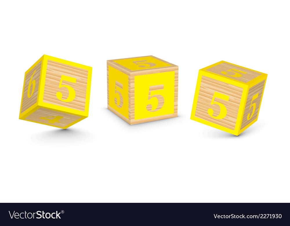 Number 5 wooden alphabet blocks vector | Price: 1 Credit (USD $1)