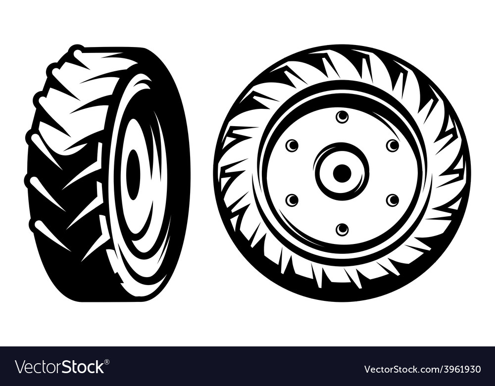 Set of monochromatic tractor wheels vector | Price: 1 Credit (USD $1)
