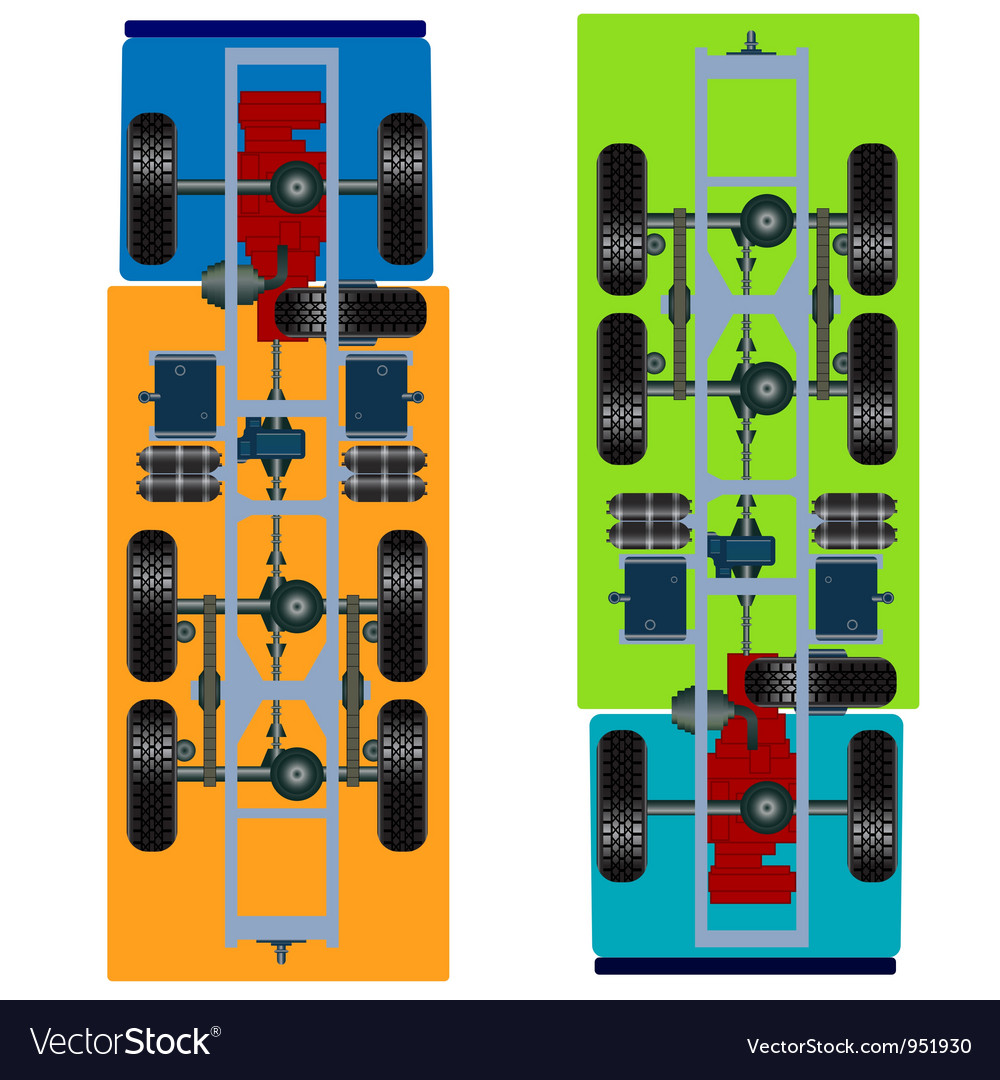 Truck suspension top view vector | Price: 1 Credit (USD $1)